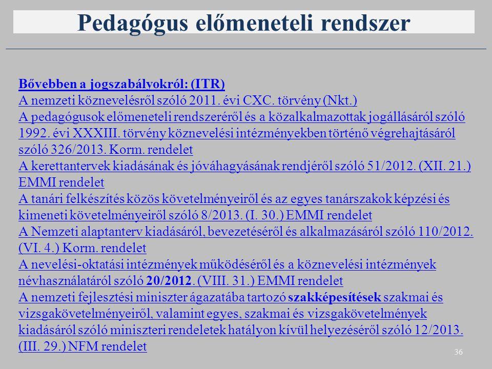 Pedagógus előmeneteli rendszer 36 Bővebben a jogszabályokról: (ITR) A nemzeti köznevelésről szóló 2011. évi CXC. törvény (Nkt.) A pedagógusok előmenet