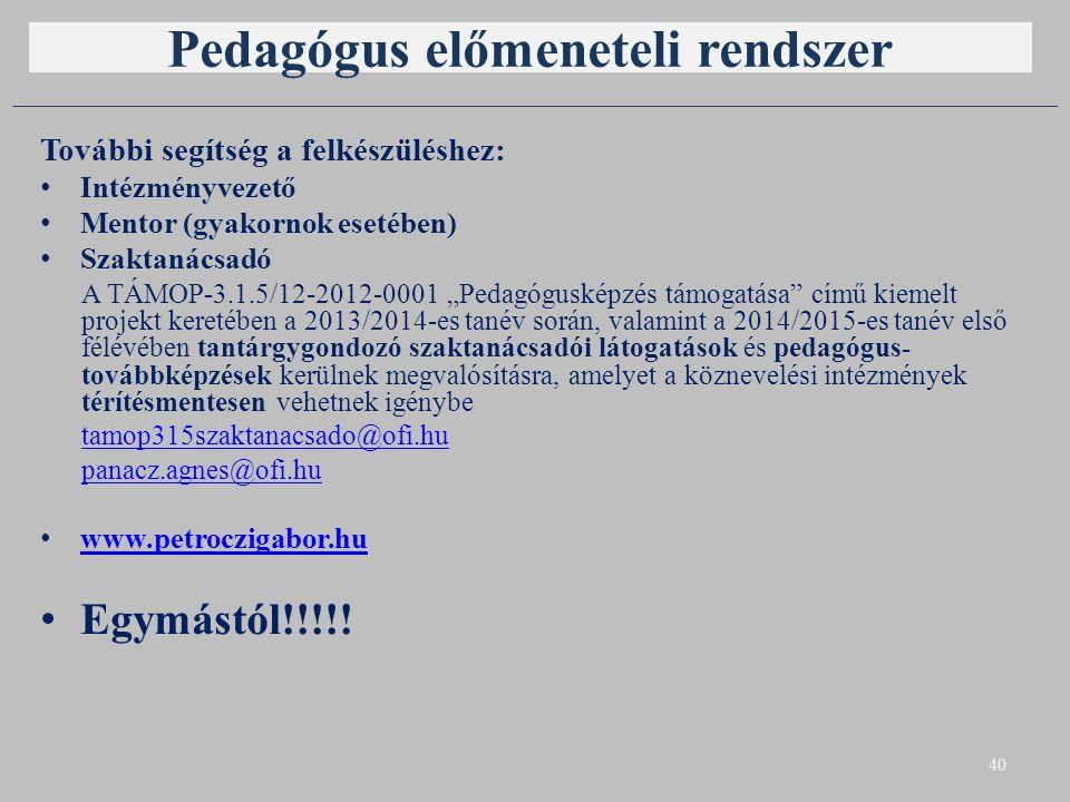 Pedagógus előmeneteli rendszer További segítség a felkészüléshez: Intézményvezető Mentor (gyakornok esetében) Szaktanácsadó A TÁMOP-3.1.5/12-2012-0001