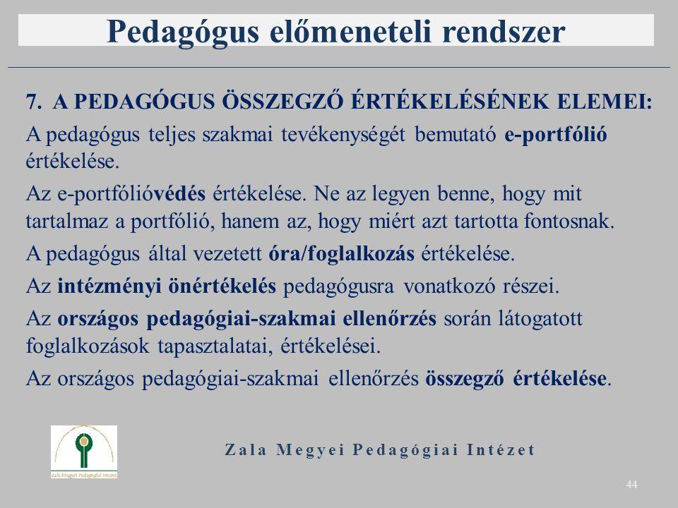 Pedagógus előmeneteli rendszer 7. A PEDAGÓGUS ÖSSZEGZŐ ÉRTÉKELÉSÉNEK ELEMEI: A pedagógus teljes szakmai tevékenységét bemutató e-portfólió értékelése.