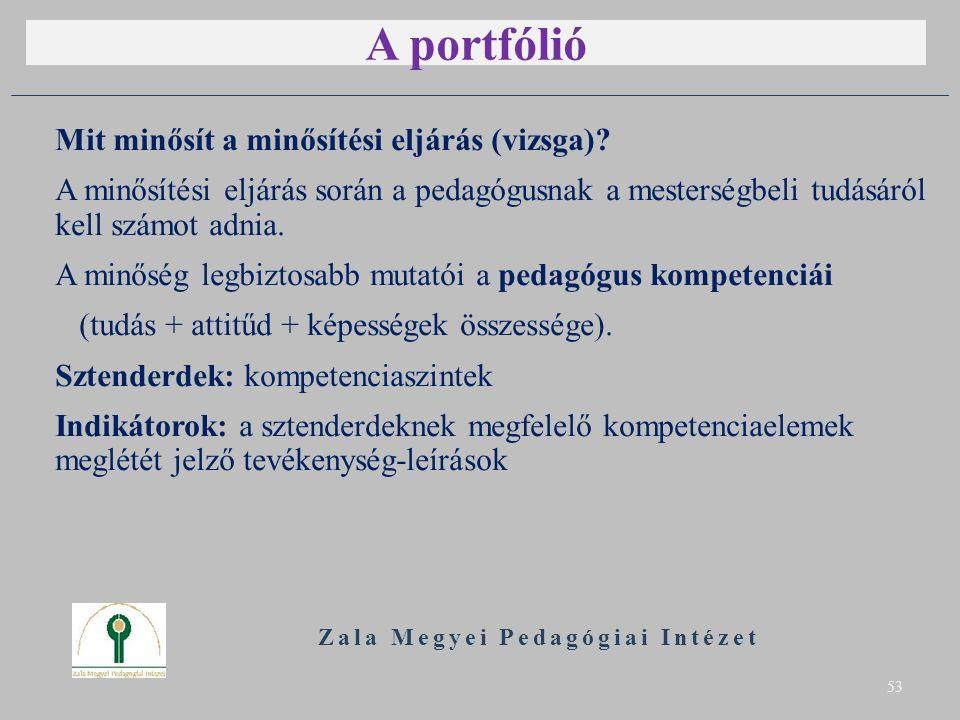 A portfólió Mit minősít a minősítési eljárás (vizsga).