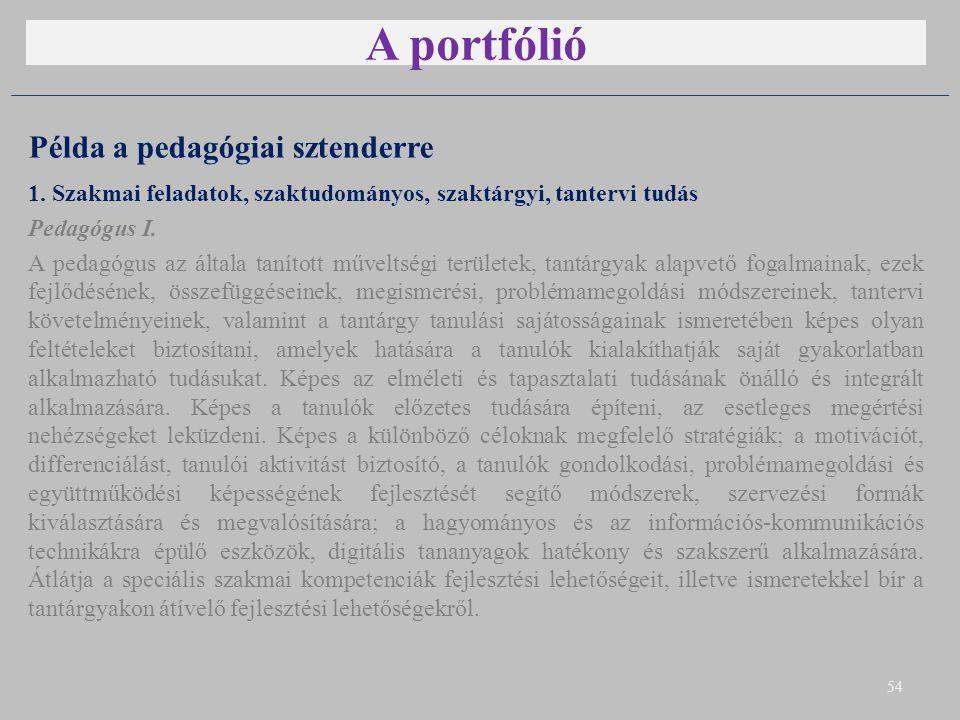 A portfólió Példa a pedagógiai sztenderre 1. Szakmai feladatok, szaktudományos, szaktárgyi, tantervi tudás Pedagógus I. A pedagógus az általa tanított