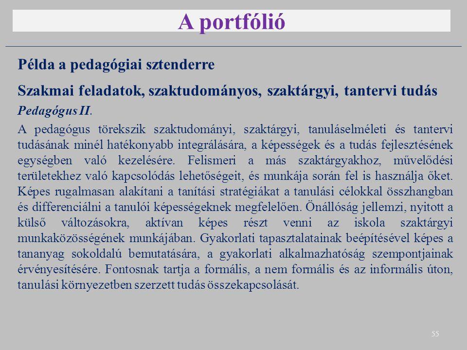 A portfólió Példa a pedagógiai sztenderre Szakmai feladatok, szaktudományos, szaktárgyi, tantervi tudás Pedagógus II. A pedagógus törekszik szaktudomá