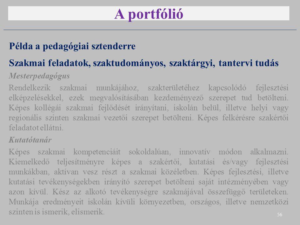 A portfólió Példa a pedagógiai sztenderre Szakmai feladatok, szaktudományos, szaktárgyi, tantervi tudás Mesterpedagógus Rendelkezik szakmai munkájához, szakterületéhez kapcsolódó fejlesztési elképzelésekkel, ezek megvalósításában kezdeményező szerepet tud betölteni.