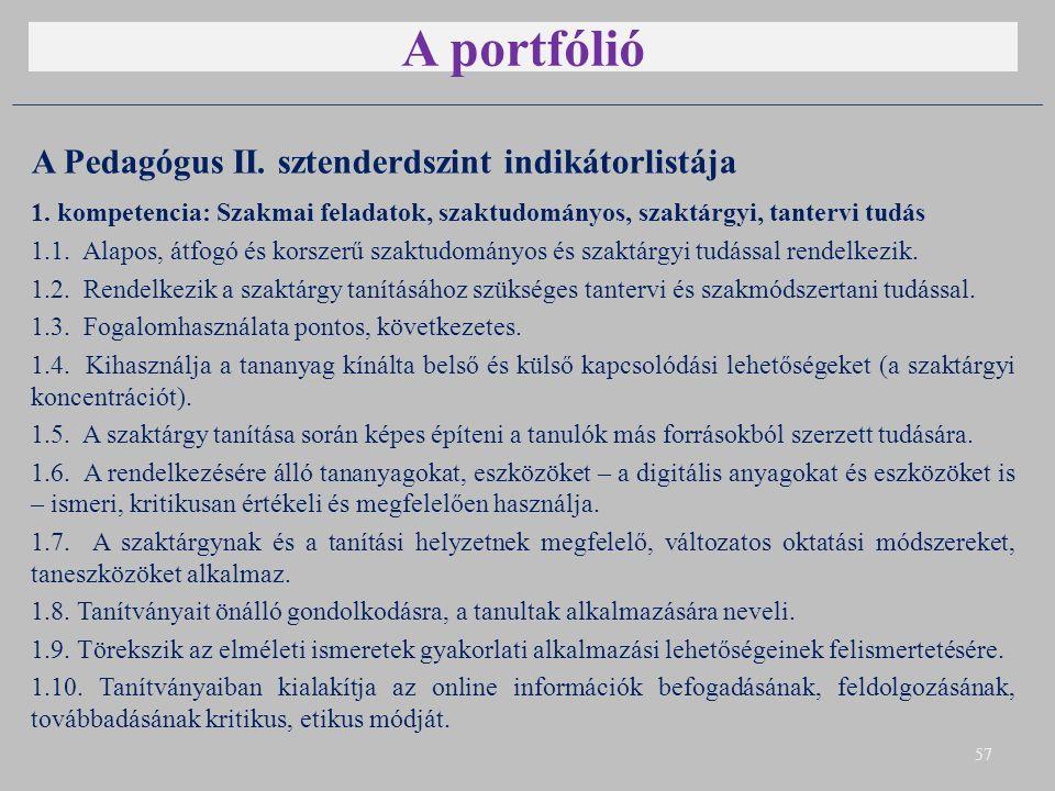 A portfólió A Pedagógus II. sztenderdszint indikátorlistája 1. kompetencia: Szakmai feladatok, szaktudományos, szaktárgyi, tantervi tudás 1.1. Alapos,