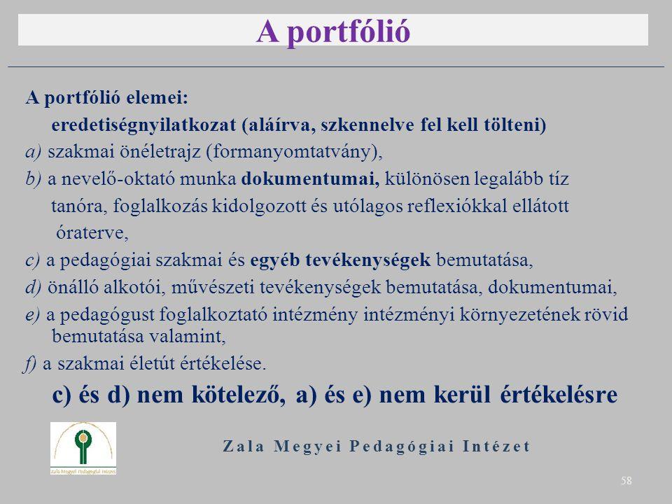 A portfólió A portfólió elemei: eredetiségnyilatkozat (aláírva, szkennelve fel kell tölteni) a) szakmai önéletrajz (formanyomtatvány), b) a nevelő-okt