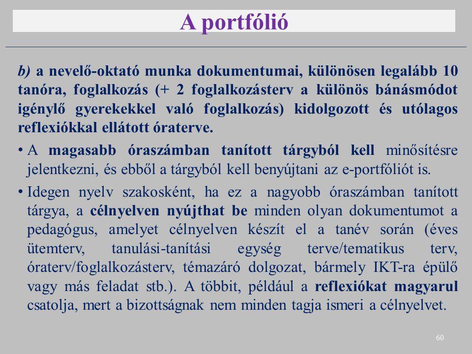 A portfólió b) a nevelő-oktató munka dokumentumai, különösen legalább 10 tanóra, foglalkozás (+ 2 foglalkozásterv a különös bánásmódot igénylő gyerekekkel való foglalkozás) kidolgozott és utólagos reflexiókkal ellátott óraterve.