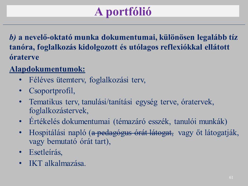A portfólió b) a nevelő-oktató munka dokumentumai, különösen legalább tíz tanóra, foglalkozás kidolgozott és utólagos reflexiókkal ellátott óraterve A