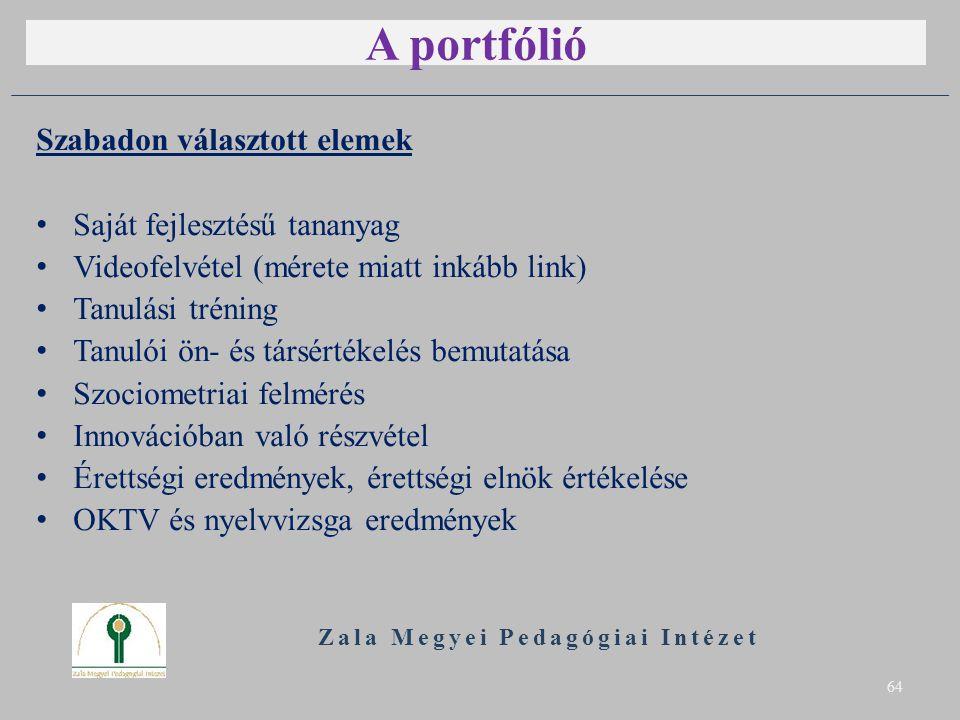 A portfólió Szabadon választott elemek Saját fejlesztésű tananyag Videofelvétel (mérete miatt inkább link) Tanulási tréning Tanulói ön- és társértékel
