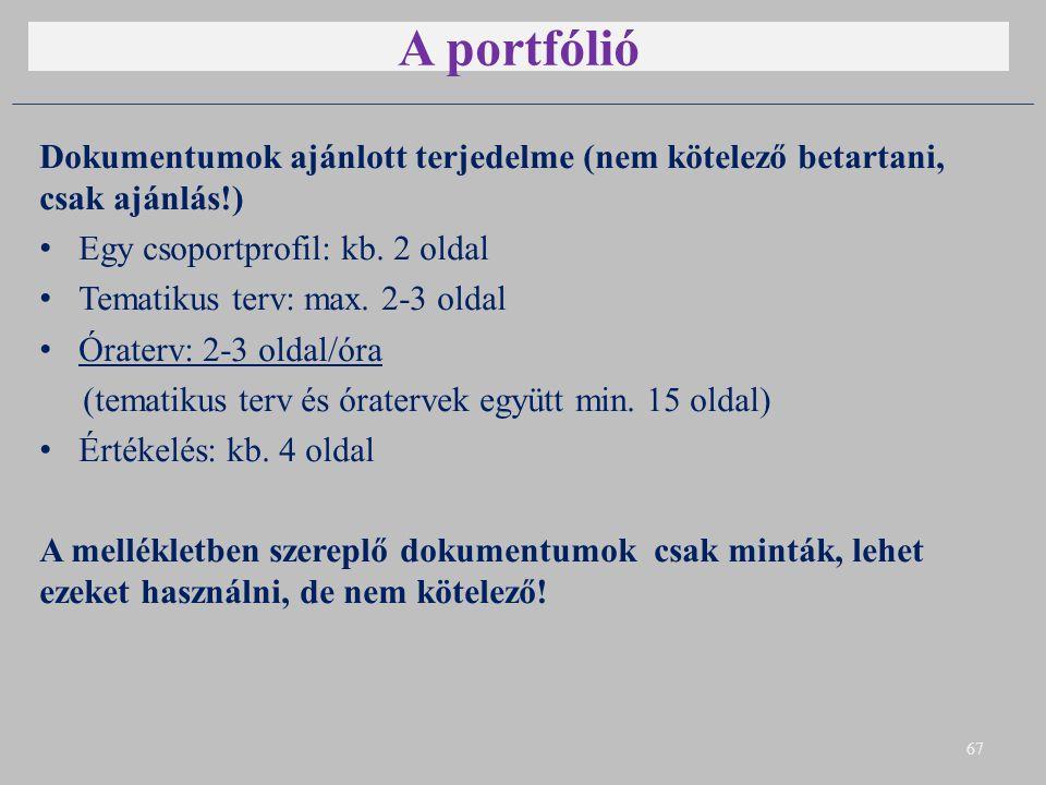 A portfólió Dokumentumok ajánlott terjedelme (nem kötelező betartani, csak ajánlás!) Egy csoportprofil: kb. 2 oldal Tematikus terv: max. 2-3 oldal Óra
