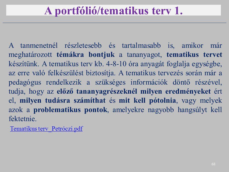 A portfólió/tematikus terv 1. A tanmenetnél részletesebb és tartalmasabb is, amikor már meghatározott témákra bontjuk a tananyagot, tematikus tervet k