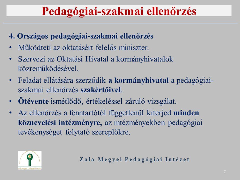 Pedagógiai-szakmai ellenőrzés 4. Országos pedagógiai-szakmai ellenőrzés Működteti az oktatásért felelős miniszter. Szervezi az Oktatási Hivatal a korm