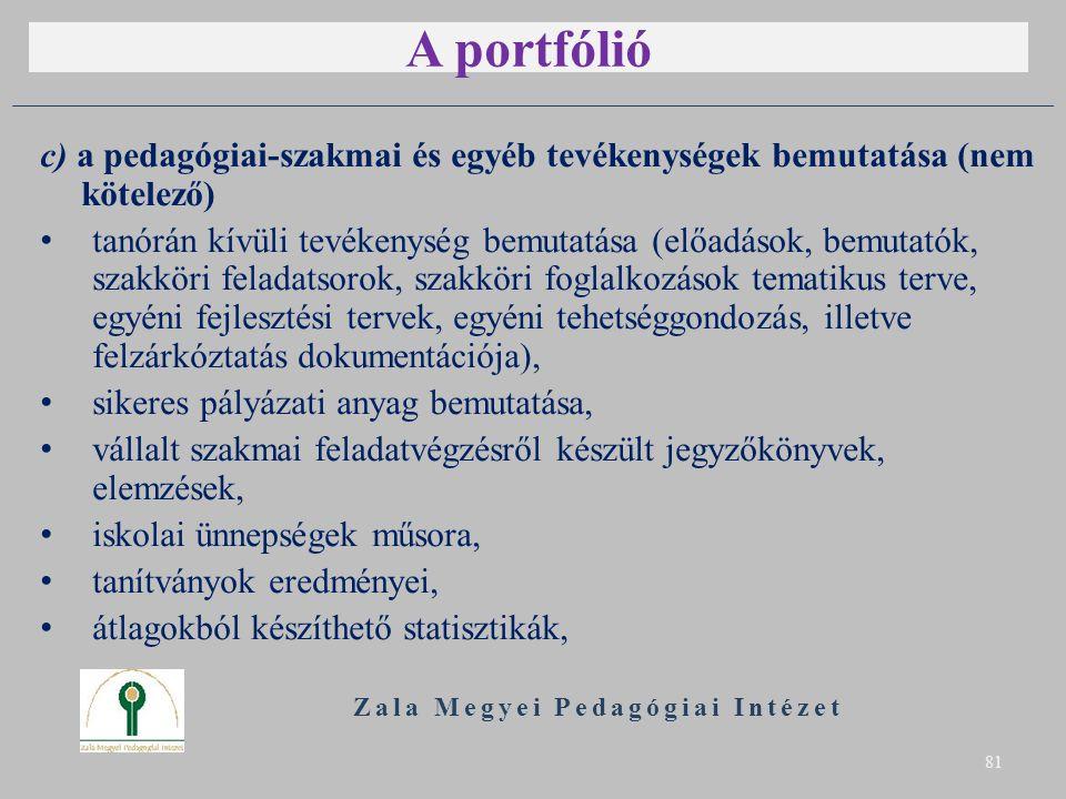 A portfólió c) a pedagógiai-szakmai és egyéb tevékenységek bemutatása (nem kötelező) tanórán kívüli tevékenység bemutatása (előadások, bemutatók, szakköri feladatsorok, szakköri foglalkozások tematikus terve, egyéni fejlesztési tervek, egyéni tehetséggondozás, illetve felzárkóztatás dokumentációja), sikeres pályázati anyag bemutatása, vállalt szakmai feladatvégzésről készült jegyzőkönyvek, elemzések, iskolai ünnepségek műsora, tanítványok eredményei, átlagokból készíthető statisztikák, Zala Megyei Pedagógiai Intézet 81