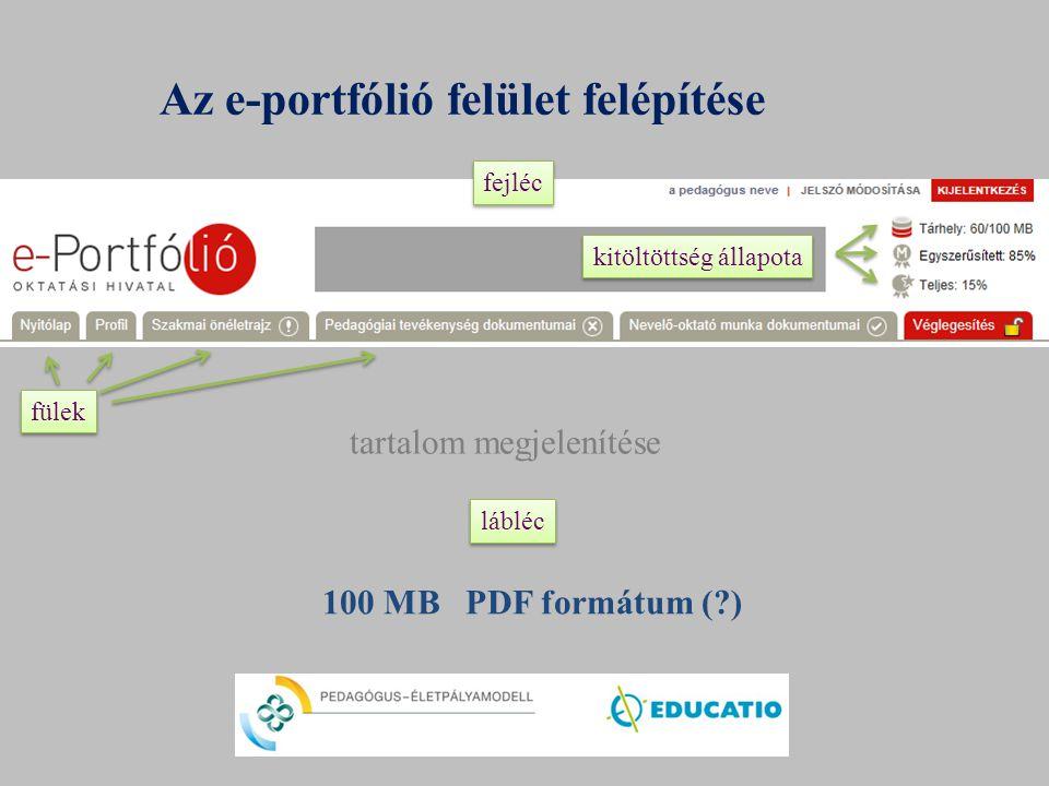 Az e-portfólió felület felépítése tartalom megjelenítése fülek fejléc lábléc kitöltöttség állapota 100 MB PDF formátum (?)
