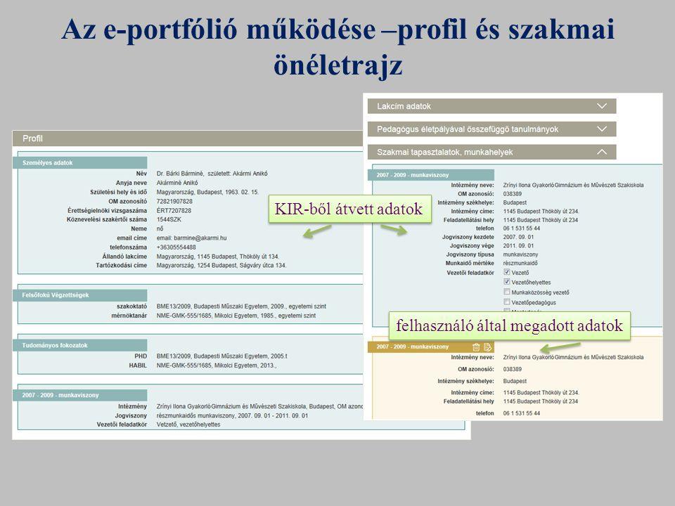 Az e-portfólió működése –profil és szakmai önéletrajz KIR-ből átvett adatok felhasználó által megadott adatok