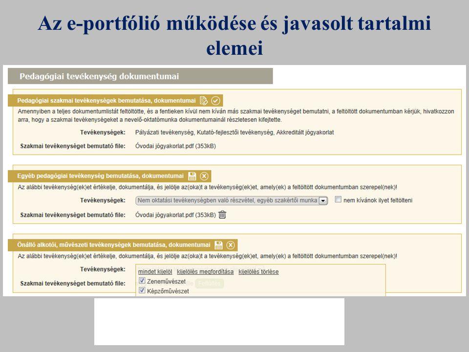 Az e-portfólió működése és javasolt tartalmi elemei a