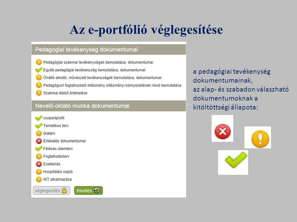 Az e-portfólió véglegesítése a pedagógiai tevékenység dokumentumainak, az alap- és szabadon válaszható dokumentumoknak a kitöltöttségi állapota: