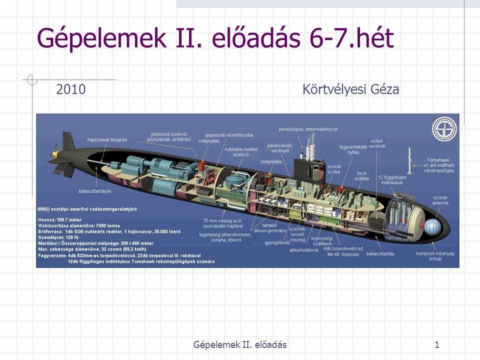 Gépelemek II. előadás1 Gépelemek II. előadás 6-7.hét 2010 Körtvélyesi Géza