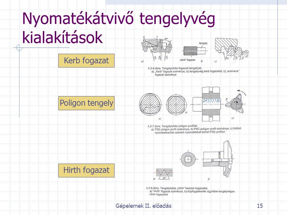Gépelemek II. előadás15 Nyomatékátvivő tengelyvég kialakítások Kerb fogazat Poligon tengely Hirth fogazat