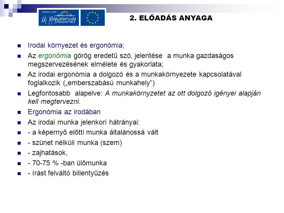 2. ELŐADÁS ANYAGA Irodai környezet és ergonómia; Az ergonómia görög eredetű szó, jelentése a munka gazdaságos megszervezésének elmélete és gyakorlata;