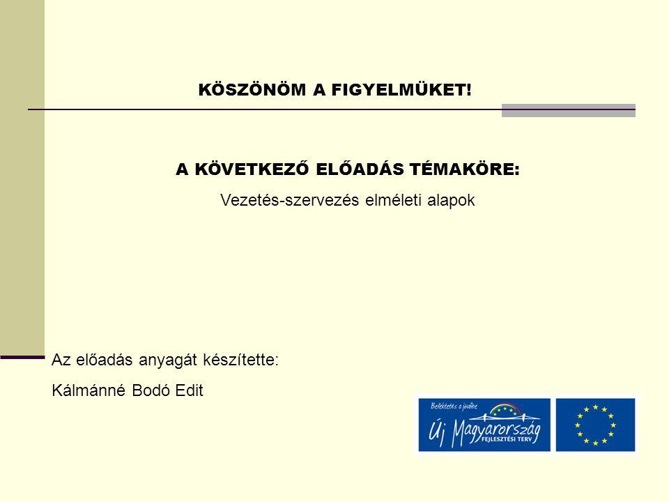 KÖSZÖNÖM A FIGYELMÜKET! A KÖVETKEZŐ ELŐADÁS TÉMAKÖRE: Vezetés-szervezés elméleti alapok Az előadás anyagát készítette: Kálmánné Bodó Edit
