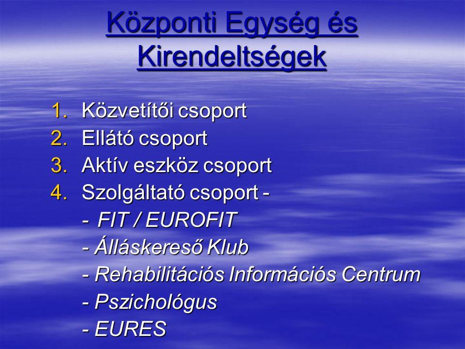 Központi Egység és Kirendeltségek 1.Közvetítői csoport 2.Ellátó csoport 3.Aktív eszköz csoport 4.Szolgáltató csoport - -FIT / EUROFIT - Álláskereső Kl