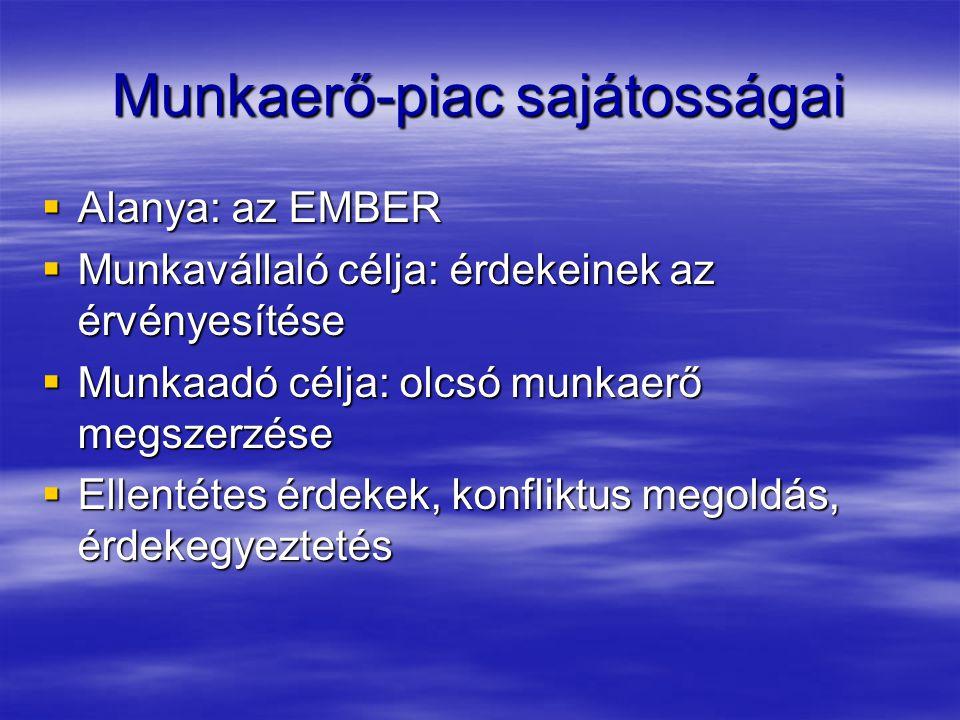 Munkaerő-piac sajátosságai  Alanya: az EMBER  Munkavállaló célja: érdekeinek az érvényesítése  Munkaadó célja: olcsó munkaerő megszerzése  Ellenté