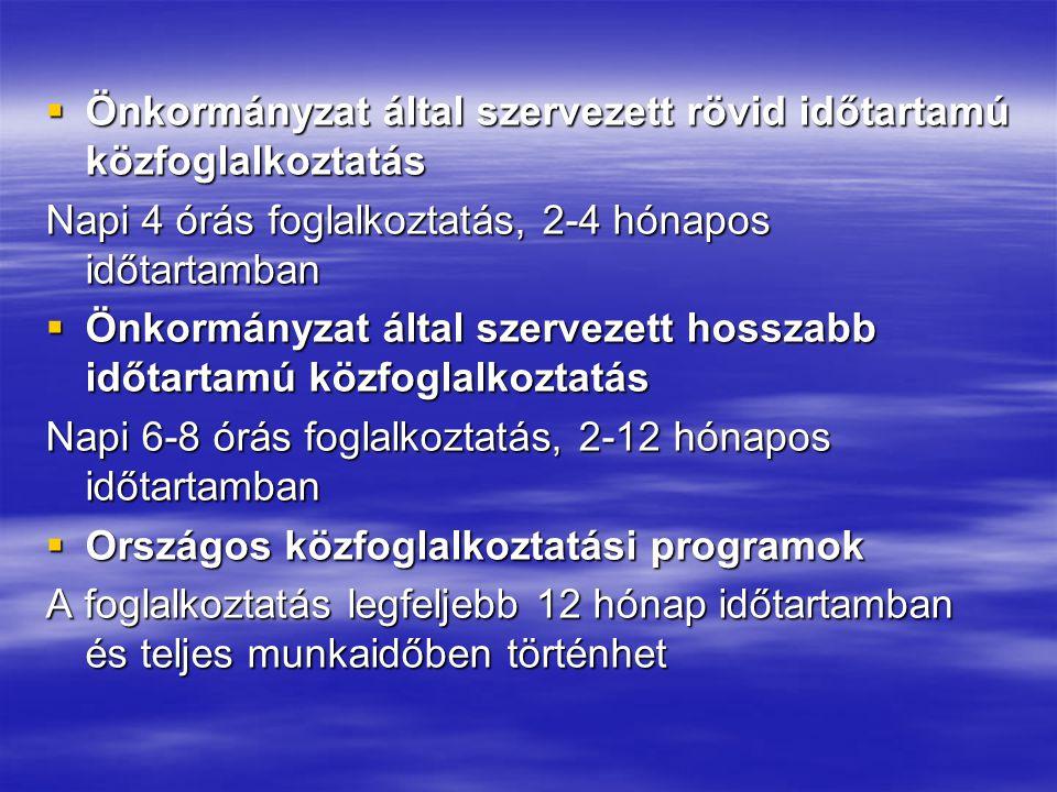  Önkormányzat által szervezett rövid időtartamú közfoglalkoztatás Napi 4 órás foglalkoztatás, 2-4 hónapos időtartamban  Önkormányzat által szervezet