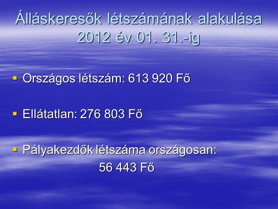 Álláskeresők létszámának alakulása 2012 év 01. 31.-ig  Országos létszám: 613 920 Fő  Ellátatlan: 276 803 Fő  Pályakezdők létszáma országosan: 56 44