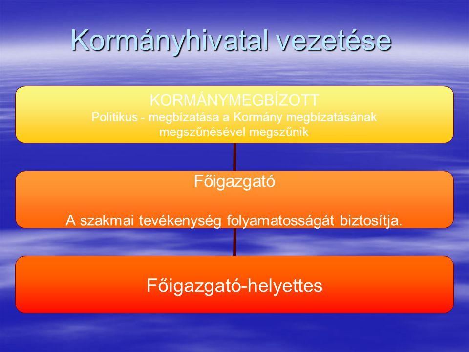 Kormányhivatal vezetése KORMÁNYMEGBÍZOTT Politikus - megbízatása a Kormány megbízatásának megszűnésével megszűnik Főigazgató A szakmai tevékenység fol