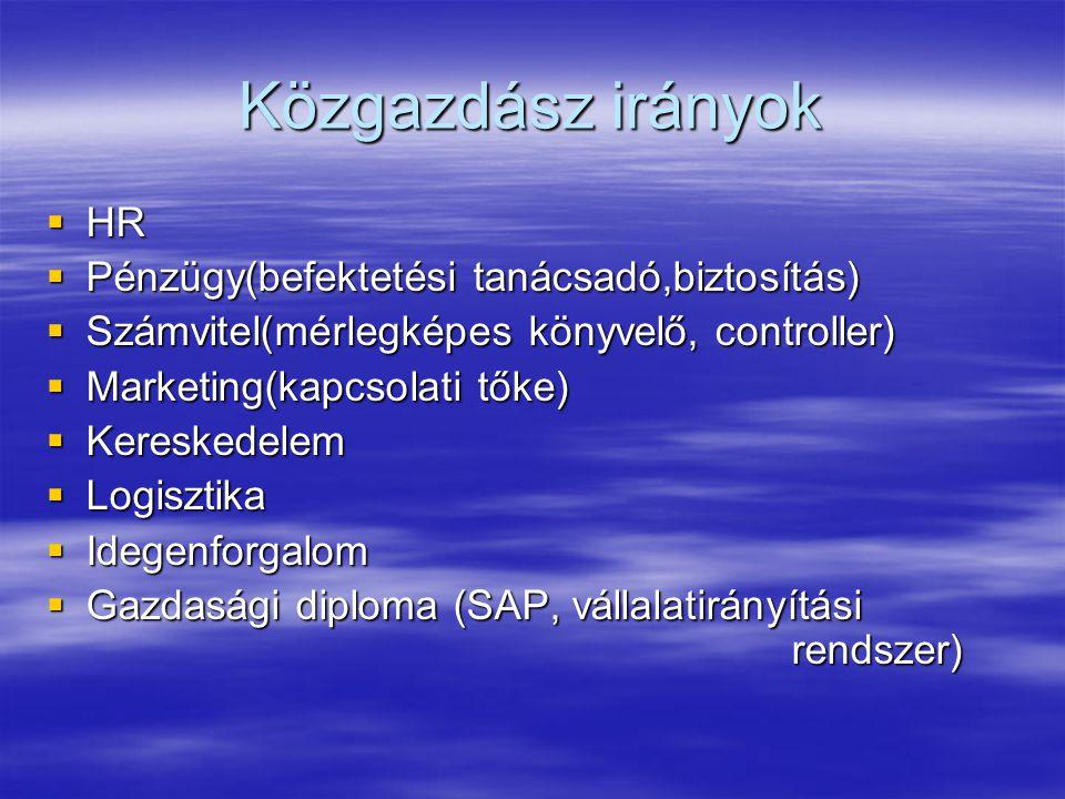 Közgazdász irányok  HR  Pénzügy(befektetési tanácsadó,biztosítás)  Számvitel(mérlegképes könyvelő, controller)  Marketing(kapcsolati tőke)  Keres
