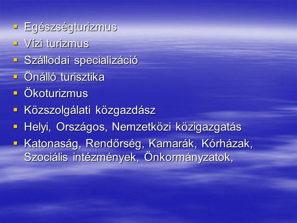  Egészségturizmus  Vízi turizmus  Szállodai specializáció  Önálló turisztika  Ökoturizmus  Közszolgálati közgazdász  Helyi, Országos, Nemzetköz