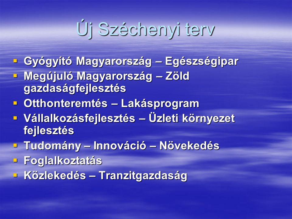 Új Széchenyi terv  Gyógyító Magyarország – Egészségipar  Megújuló Magyarország – Zöld gazdaságfejlesztés  Otthonteremtés – Lakásprogram  Vállalkoz