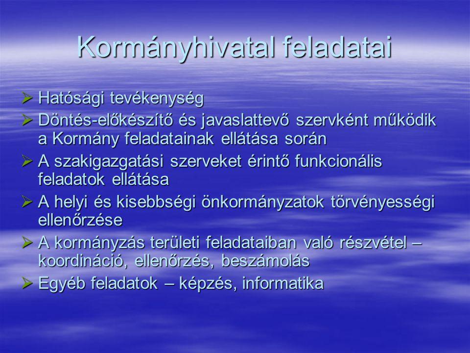 Kormányhivatal feladatai  Hatósági tevékenység  Döntés-előkészítő és javaslattevő szervként működik a Kormány feladatainak ellátása során  A szakig