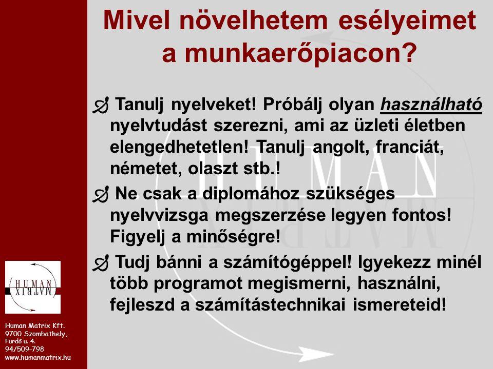 Human Matrix Kft. 9700 Szombathely, Fürdő u. 4. 94/509-798 www.humanmatrix.hu Mivel növelhetem esélyeimet a munkaerőpiacon?  Tanulj nyelveket! Próbál