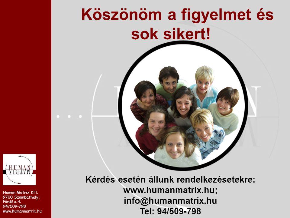 Human Matrix Kft. 9700 Szombathely, Fürdő u. 4. 94/509-798 www.humanmatrix.hu Köszönöm a figyelmet és sok sikert! Kérdés esetén állunk rendelkezésetek