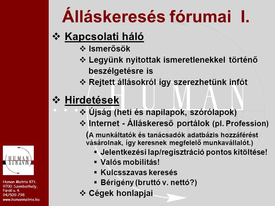 Human Matrix Kft. 9700 Szombathely, Fürdő u. 4. 94/509-798 www.humanmatrix.hu  Kapcsolati háló  Ismerősök  Legyünk nyitottak ismeretlenekkel történ