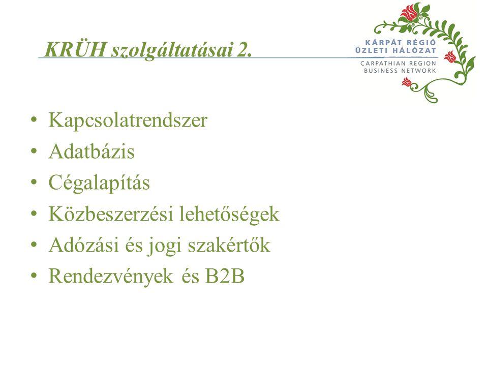 KRÜH szolgáltatásai 2. Kapcsolatrendszer Adatbázis Cégalapítás Közbeszerzési lehetőségek Adózási és jogi szakértők Rendezvények és B2B