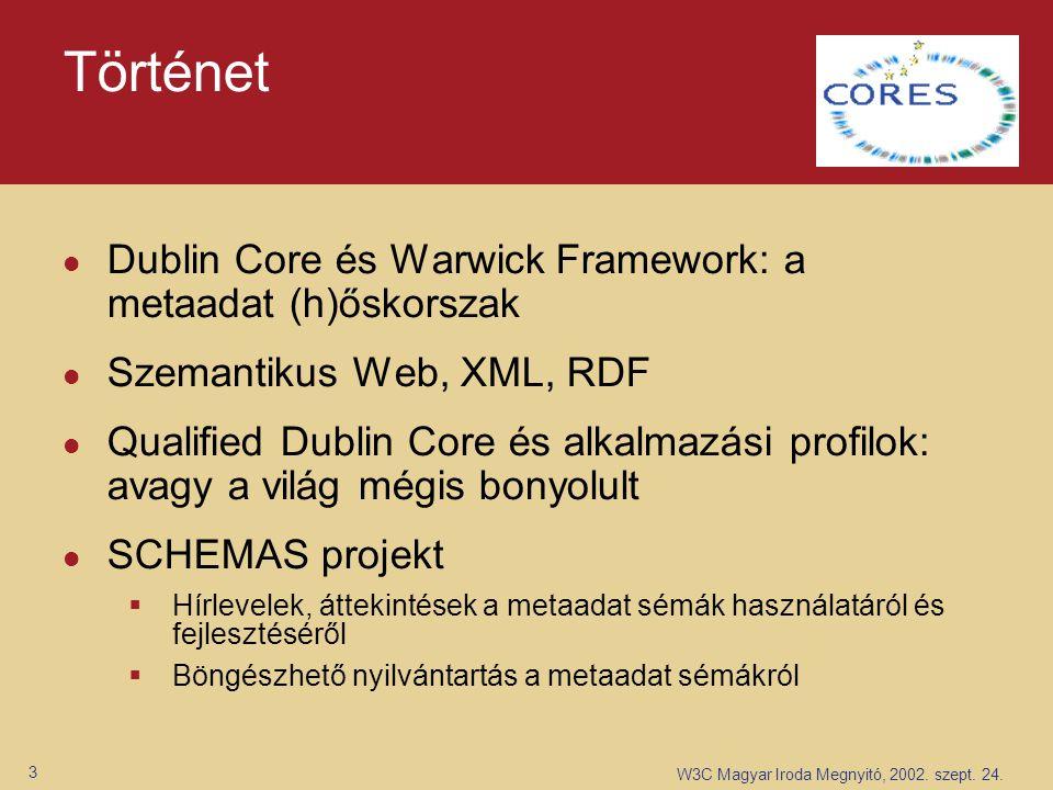 W3C Magyar Iroda Megnyitó, 2002. szept. 24. 3 Történet Dublin Core és Warwick Framework: a metaadat (h)őskorszak Szemantikus Web, XML, RDF Qualified D
