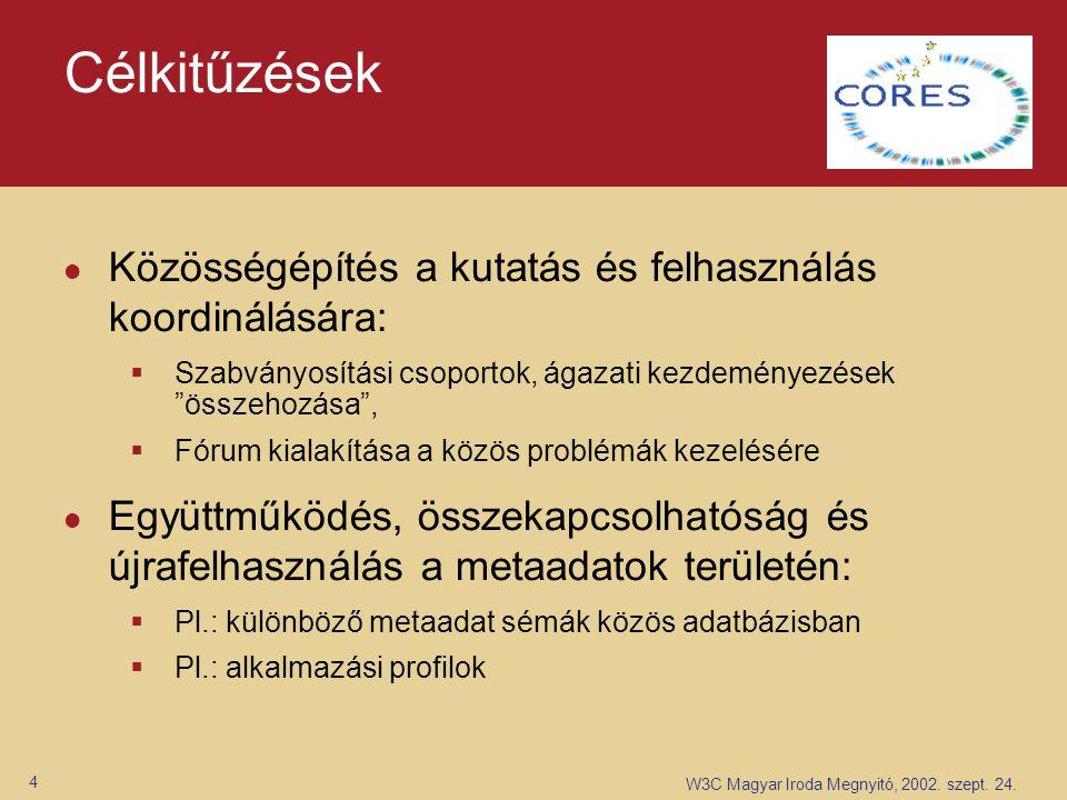 W3C Magyar Iroda Megnyitó, 2002. szept. 24. 4 Célkitűzések Közösségépítés a kutatás és felhasználás koordinálására:  Szabványosítási csoportok, ágaza