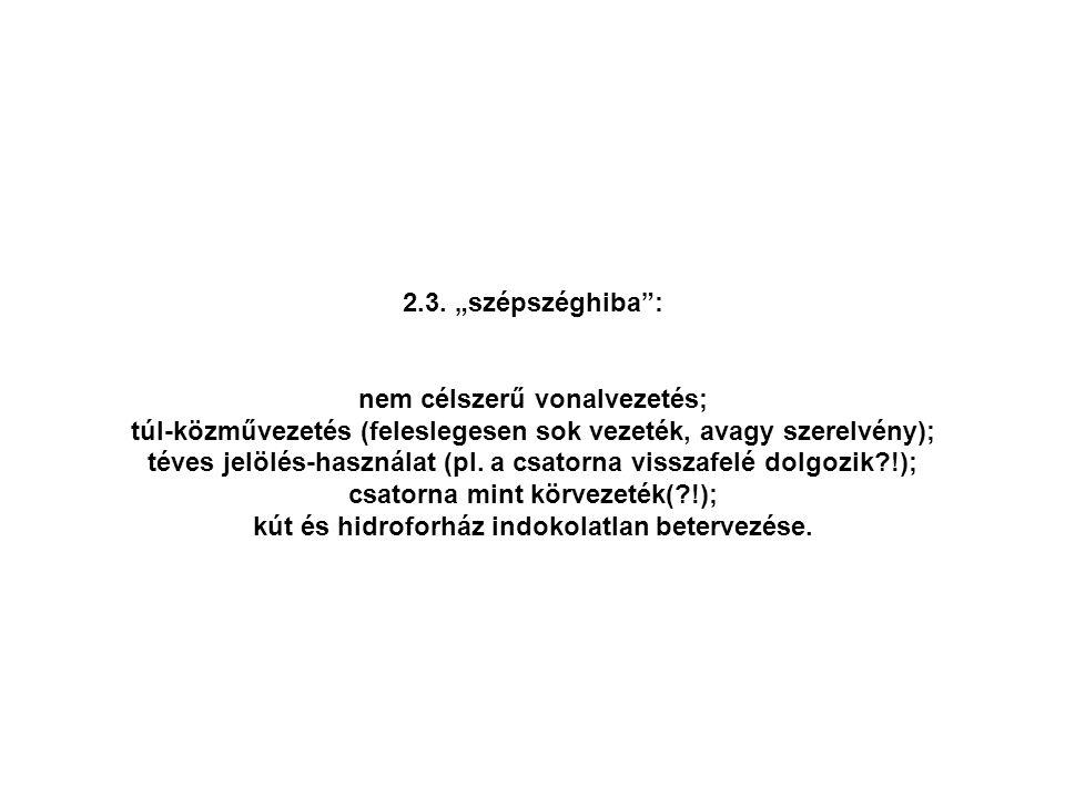 """2.3. """"szépszéghiba"""": nem célszerű vonalvezetés; túl-közművezetés (feleslegesen sok vezeték, avagy szerelvény); téves jelölés-használat (pl. a csatorna"""