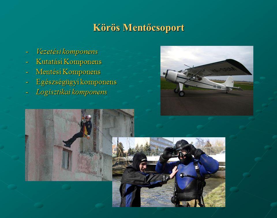 -Vezetési komponens -Kutatási Komponens - Mentési Komponens -Egészségügyi komponens -Logisztikai komponens