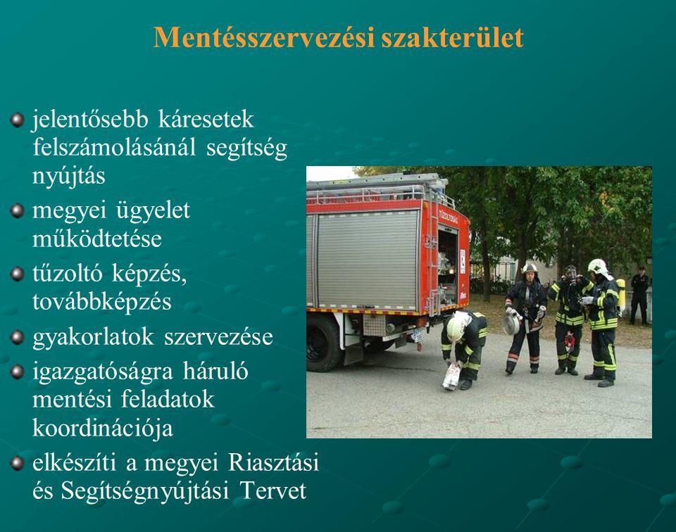 Mentésszervezési szakterület jelentősebb káresetek felszámolásánál segítség nyújtás megyei ügyelet működtetése tűzoltó képzés, továbbképzés gyakorlatok szervezése igazgatóságra háruló mentési feladatok koordinációja elkészíti a megyei Riasztási és Segítségnyújtási Tervet