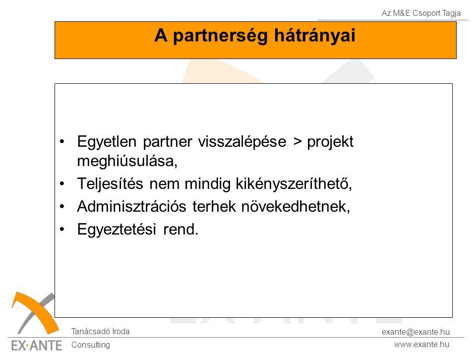 Az M&E Csoport Tagja Tanácsadó Iroda www.exante.hu Consulting exante@exante.hu A partnerség hátrányai Egyetlen partner visszalépése > projekt meghiúsulása, Teljesítés nem mindig kikényszeríthető, Adminisztrációs terhek növekedhetnek, Egyeztetési rend.