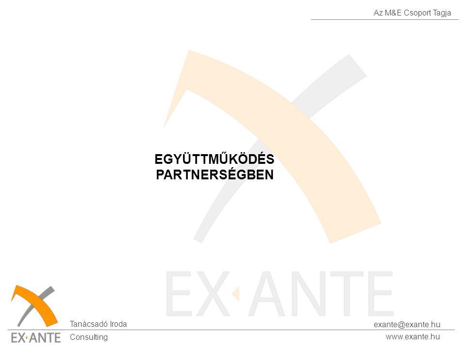 Az M&E Csoport Tagja Tanácsadó Iroda www.exante.hu Consulting exante@exante.hu EGYÜTTMŰKÖDÉS PARTNERSÉGBEN