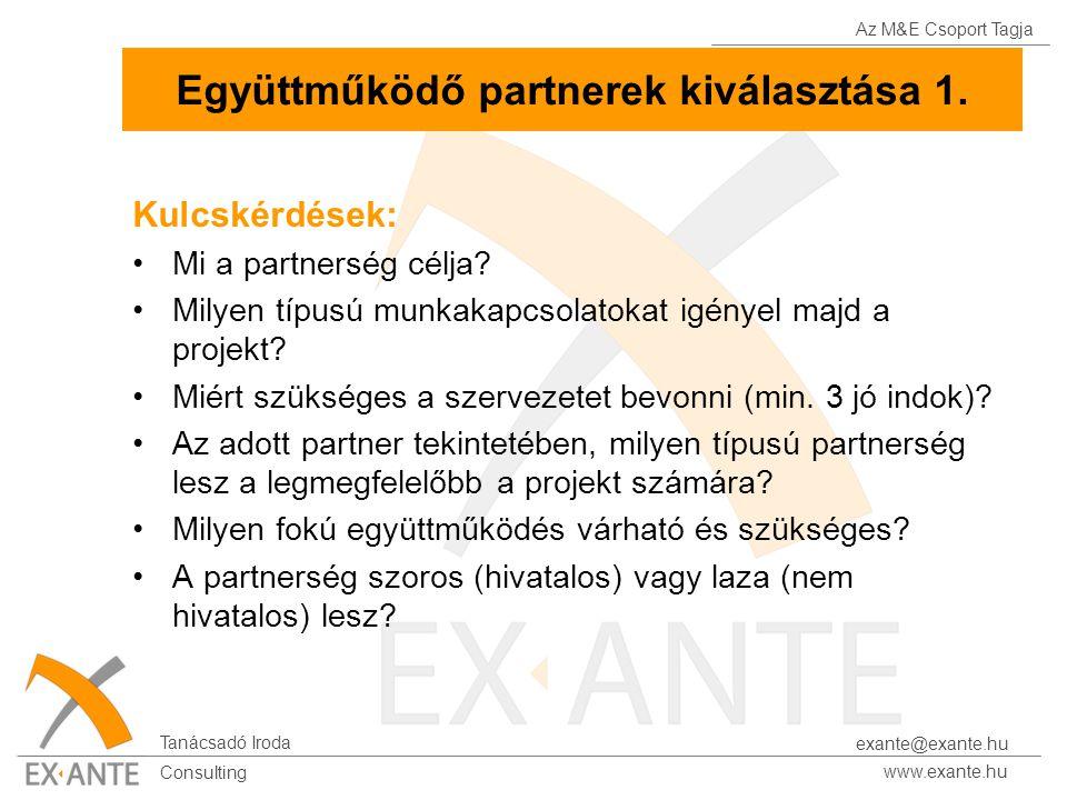 Az M&E Csoport Tagja Tanácsadó Iroda www.exante.hu Consulting exante@exante.hu Együttműködő partnerek kiválasztása 1. Kulcskérdések: Mi a partnerség c