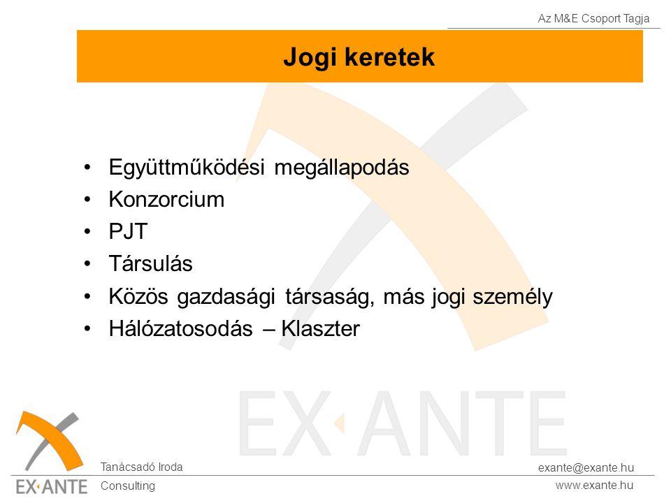 Az M&E Csoport Tagja Tanácsadó Iroda www.exante.hu Consulting exante@exante.hu Jogi keretek Együttműködési megállapodás Konzorcium PJT Társulás Közös gazdasági társaság, más jogi személy Hálózatosodás – Klaszter