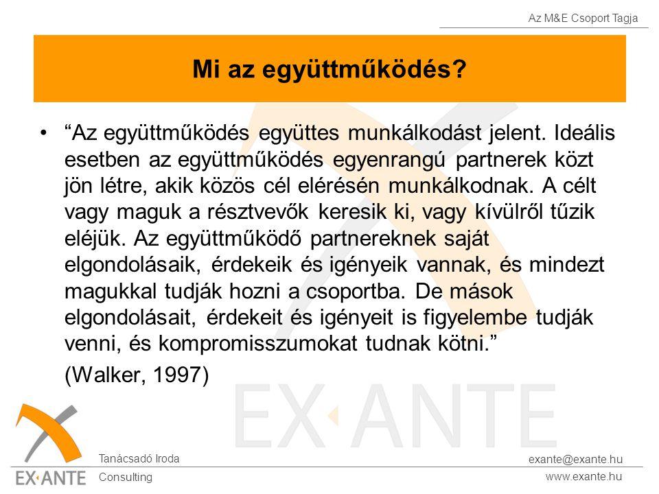 Az M&E Csoport Tagja Tanácsadó Iroda www.exante.hu Consulting exante@exante.hu Mi az együttműködés.