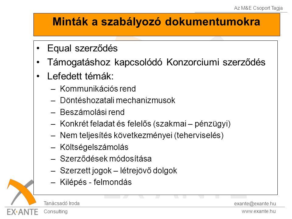 Az M&E Csoport Tagja Tanácsadó Iroda www.exante.hu Consulting exante@exante.hu Minták a szabályozó dokumentumokra Equal szerződés Támogatáshoz kapcsolódó Konzorciumi szerződés Lefedett témák: –Kommunikációs rend –Döntéshozatali mechanizmusok –Beszámolási rend –Konkrét feladat és felelős (szakmai – pénzügyi) –Nem teljesítés következményei (teherviselés) –Költségelszámolás –Szerződések módosítása –Szerzett jogok – létrejövő dolgok –Kilépés - felmondás