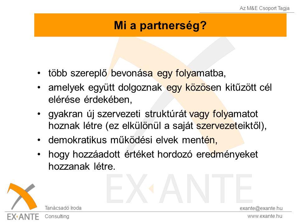 Az M&E Csoport Tagja Tanácsadó Iroda www.exante.hu Consulting exante@exante.hu Mi a partnerség? több szereplő bevonása egy folyamatba, amelyek együtt