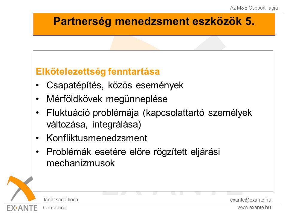 Az M&E Csoport Tagja Tanácsadó Iroda www.exante.hu Consulting exante@exante.hu Partnerség menedzsment eszközök 5. Elkötelezettség fenntartása Csapatép